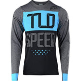 Troy Lee Designs Cycling Jersey Small / Speedshop Heather Charcoal/Ocean Troy Lee Designs Skyline Checker Men's Off-Road BMX Cycling Jersey