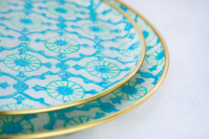 Turquoise hand block printed fabric and fibreglass trays