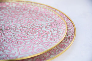 Pink hand block printed fabric and fibreglass trays