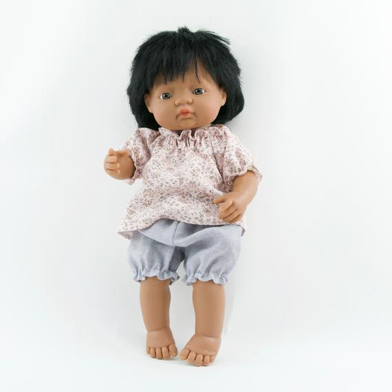 Miniland doll clothing | Grey linen bloomers & floral blouse for 38cm doll