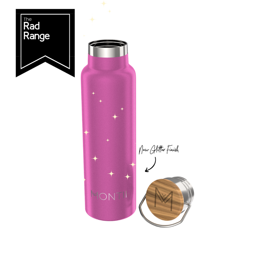 Stainless Steel Drink Bottle | Bright Pink Glitter