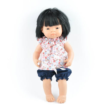 Miniland doll clothing | Navy bloomers & floral blouse for 38cm doll