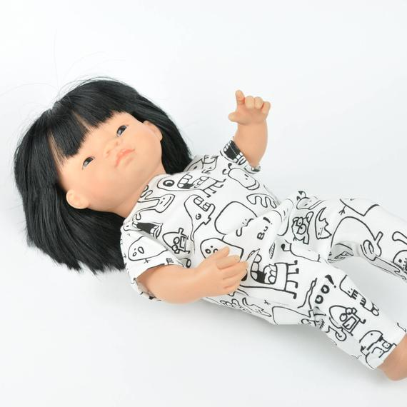Miniland doll clothing | Black & white romper for 38cm doll