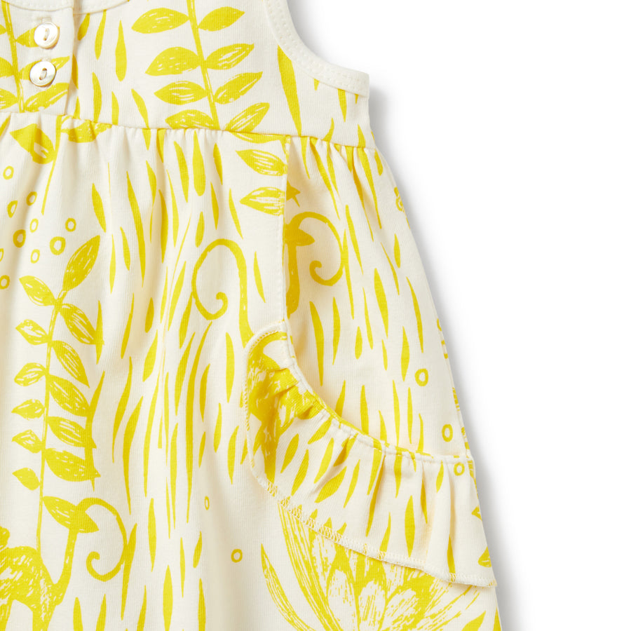 Mellow Yellow Ruffle Pocket Dress