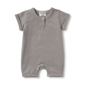 Charcoal Stripe Placket Detail Boyleg Growsuit