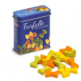 Wooden Farfalle Pasta in a Tin
