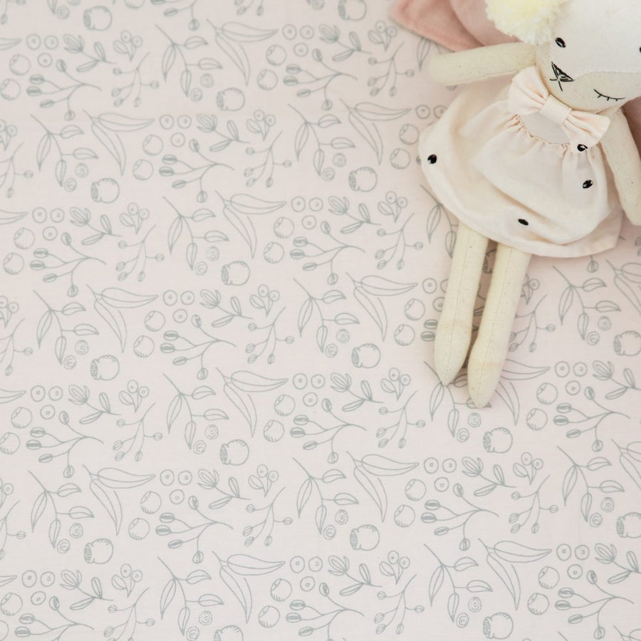 Organic Cotton Fitted Cot Sheet | Grey Botanical on Pastel Blush