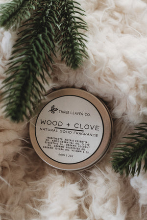 Wood + Clove Natural Solid Fragrance 2oz