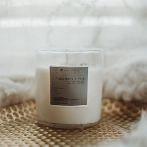 Rosemary Pine Soy Crystal Infused Candle | 8oz