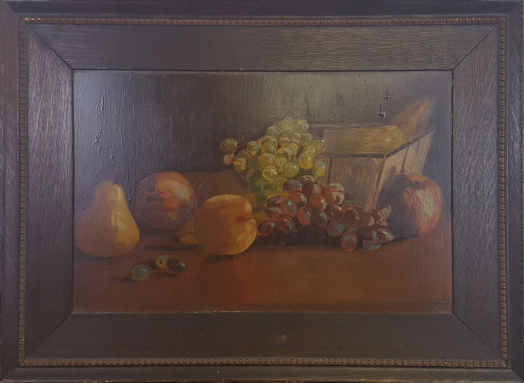 19th c Oil on Board Still Life
