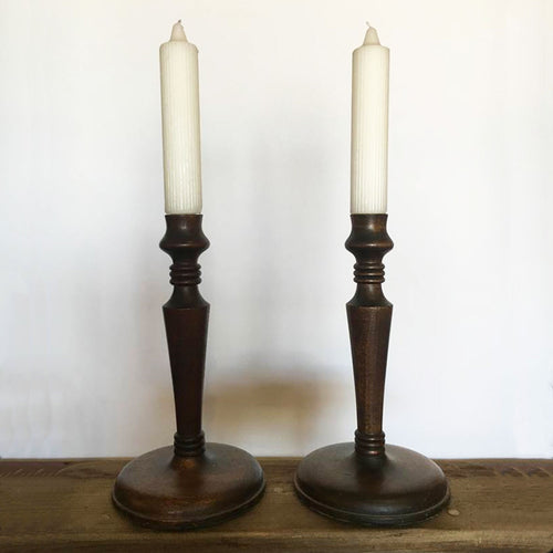 pair of english candlesticks, warm patina on turned wood candlesticks