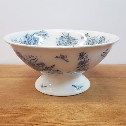 18th c French Footed Transferware Bowl