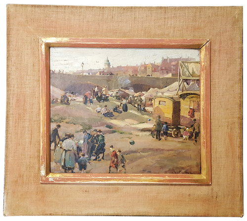 19th century french oil painting of gypsy encampment