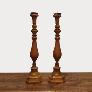 Carved Wood Candlesticks