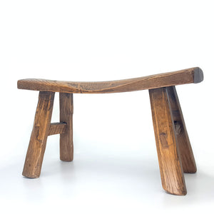 small chinese stool made of elm wood, hand crafted, 19th century