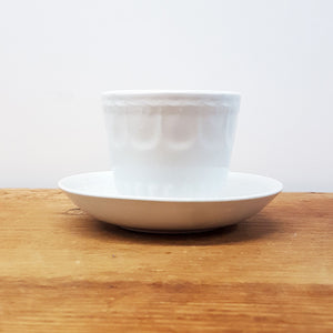 English Ironstone Custard Cup and Saucer