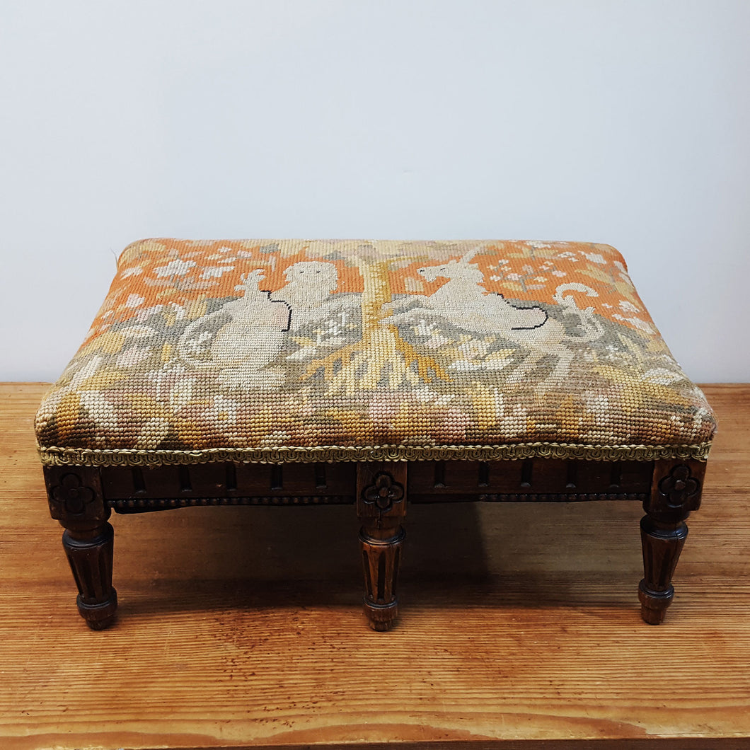 English Petit Point Footstool