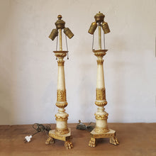 Gilt Wood Altar Candlestick Lamps