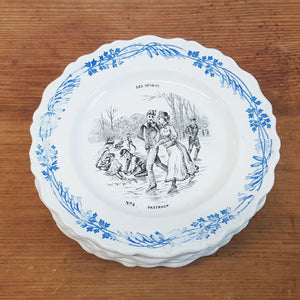 antique french plates depicting sports scenes