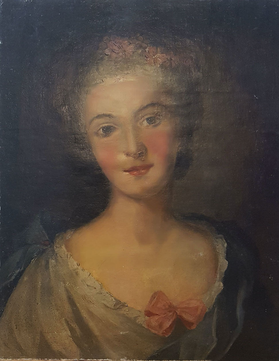 19th c Mounted Oil Portrait