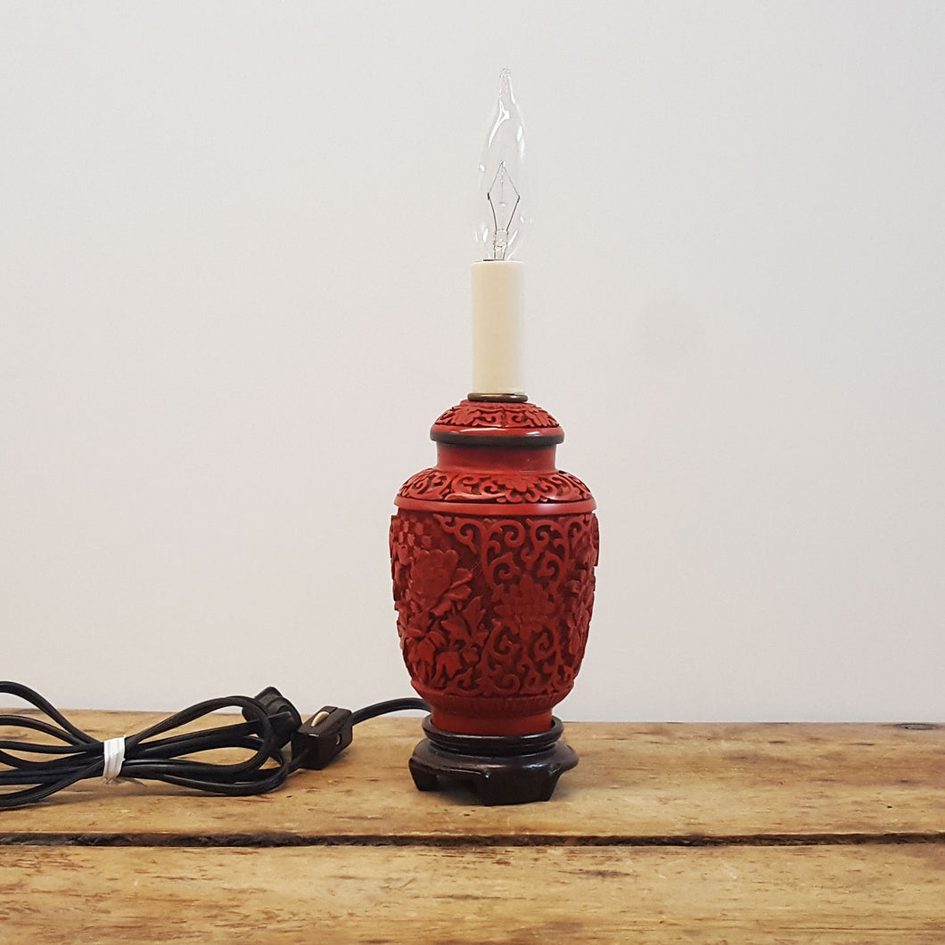 Ornate Red Cinnabar Lamp