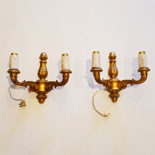 Pair of Gilt Wood Wall Sconces