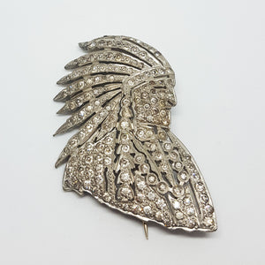 Rhinestone Indian Brooch