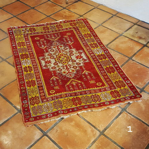 set of persian rugs yellow and red