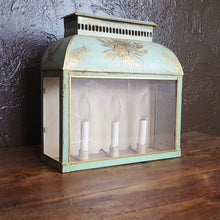 french tole lantern pale green with gilt accent paint