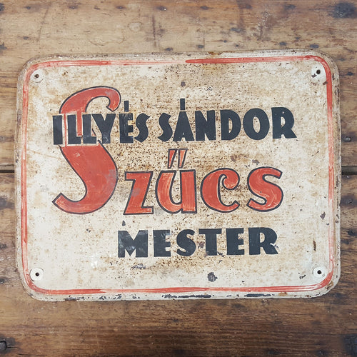 Vintage Tin Hungarian Sign