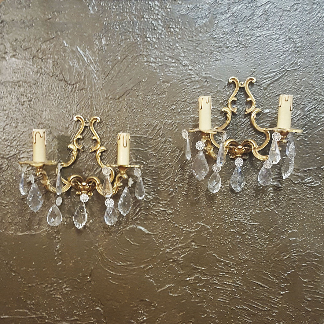 Pair of Brass & Crystal Light Sconces