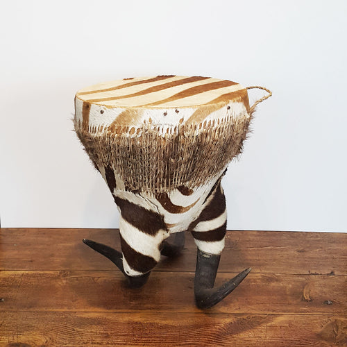 Zebra Hide Drum/Stool