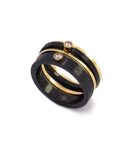 "Bagues "" Zircons "" Black & Gold /4   - Anartxy"