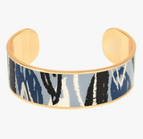 "Jonc "" Flore "" Gris perle / Bleu Nuit  - Bangle up"
