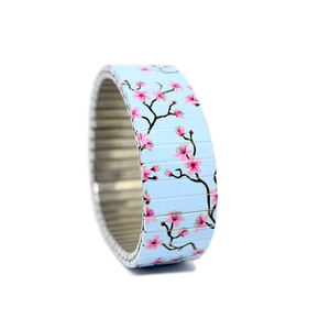 Bracelet Cherry Blossoms / Powder Blue  -  Banded Brussels