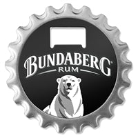 Bundaberg Opener Coaster & Magnet - 3 in 1 Gadget - Steel bottle opener, Fridge magnet and Cork Stoppers on back to use as coaster