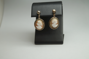 Gold Filled Vintage Dangle CAMEO Earrings