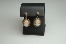 Load image into Gallery viewer, Gold Filled Vintage Dangle CAMEO Earrings