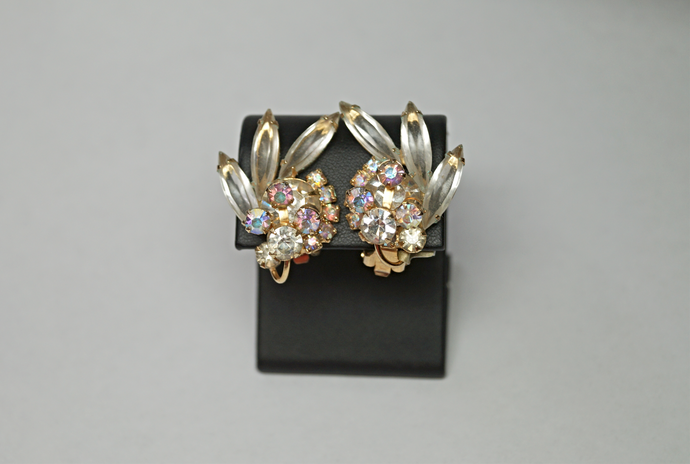 White Rhinestone Clip-On Earrings
