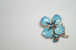 Hand Painted Enamel Vintage Flower Brooch
