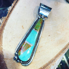 Load image into Gallery viewer, Blue/Green Turquoise Inlay Pendant & Dangle Earrings Set