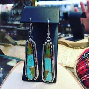 Blue/Green Turquoise Inlay Pendant & Dangle Earrings Set