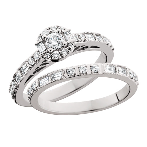 14kt Baguette & Round Wedding Set