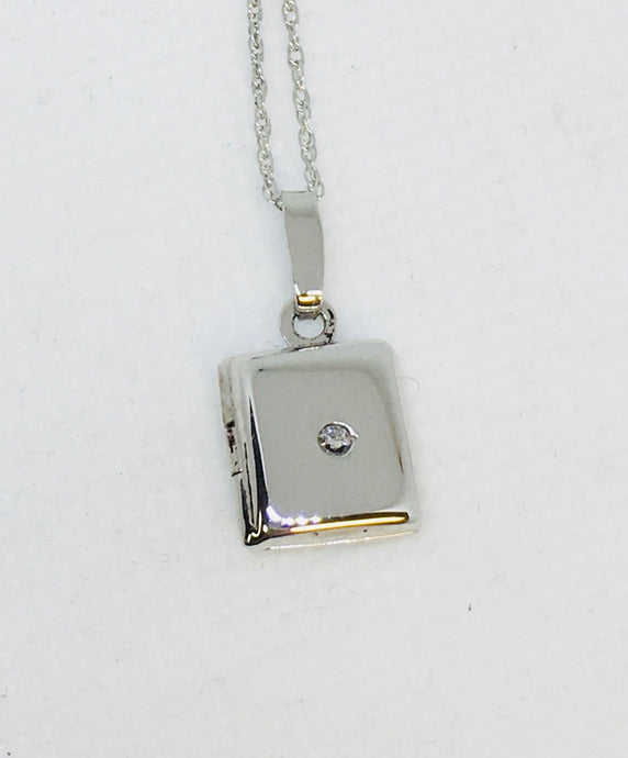 Sterling Silver & Diamond Square Locket