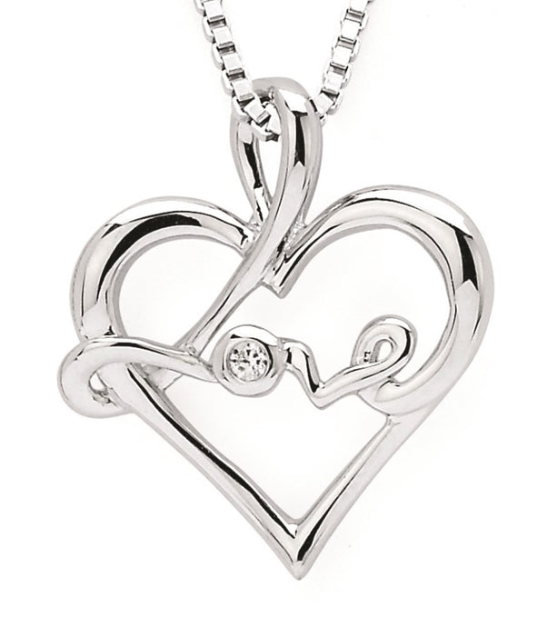 Love in Heart Sterling Silver & Diamond Necklace