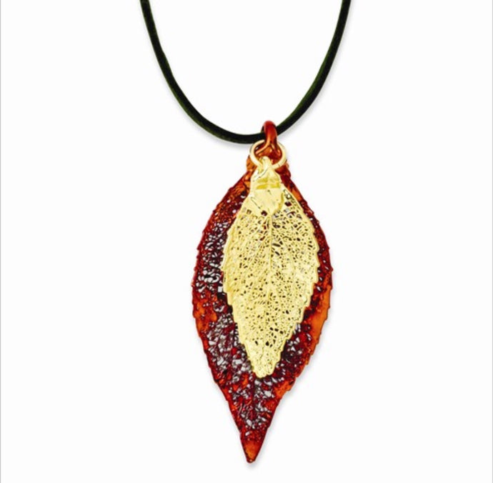 Copper & Gold Dipped Evergreen Leaf Necklace