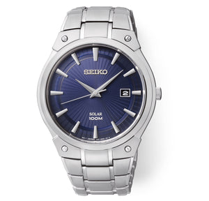 Men's Silver-Tone Blue Dial Solar Seiko Watch