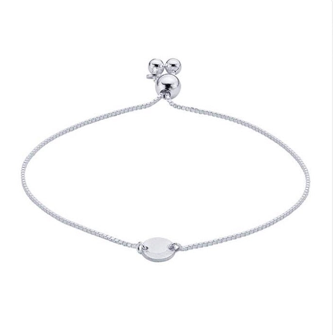 Sterling Silver Adjustable Bracelet with Round Plaque