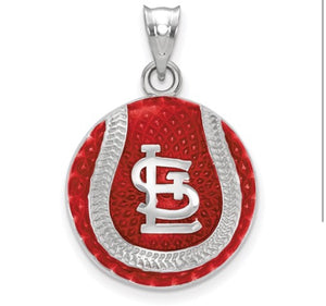 St. Louis Cardinals Sterling Silver Red Enamel Pendant