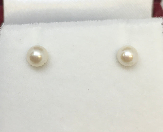 14k White Gold Pearl Post Earrings